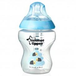 خريد اينترنتي سيسموني نوزاد شیشه شیر طلقی ضد نفخ تامی تیپ 260 میل طرح دار آبی Tommee Tippee نوزادی، نی نی لازم فروشگاه اینترنتی سیسمونی