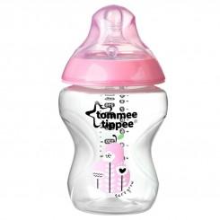 شیر خوری طلقی مشابه سینه مادر تامی تیپ 260 میل طرح دار صورتی Tommee Tippee