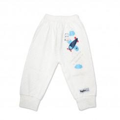شلوار نوزادی تاپ لاین سفید تک چاپ طرح هواپیما Topline