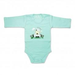 زیرپوش زیردکمه دار آستین بلند نوزادی دولو مدل بره سبز Davalloo