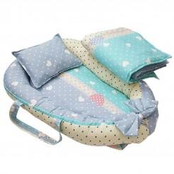 سرویس خواب 3 تکه نوزادی رنگ آبی طرح قلب Papo