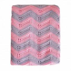 خريد اينترنتي سيسموني نوزاد پتوی بافتنی نوزاد مدل موج رنگ صورتی یاسی Blanket نوزادی، نی نی لازم فروشگاه اینترنتی سیسمونی