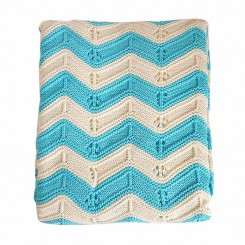خريد اينترنتي سيسموني نوزاد پتوی بافت نوزادی مدل موج رنگ فیروزه ای با کرم Blanket نوزادی، نی نی لازم فروشگاه اینترنتی سیسمونی