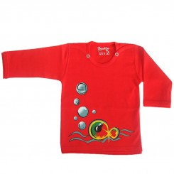 خريد اينترنتي سيسموني نوزاد بلوز آستین بلند بچگانه دولو طرح قرمز ماهی Davalloo نوزادی، نی نی لازم فروشگاه اینترنتی سیسمونی