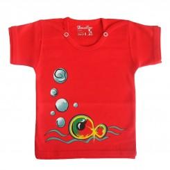 تیشرت آستین کوتاه بچگانه دولو طرح قرمز ماهی Davalloo