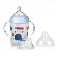 شیشه شیر دسته دار پسرانه نابی طرح فیل آبی Nuby