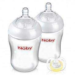 خريد اينترنتي سيسموني نوزاد ست شیشه شیر نچرال 2 عددی  و پستانک نابی Nuby نوزادی، نی نی لازم فروشگاه اینترنتی سیسمونی