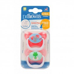 پستانک ارتودنسی 2 عددی دخترانه دکتر براون طرح فیل و قورباغه Dr Browns