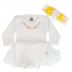 خريد اينترنتي سيسموني نوزاد لباس مجلسی دخترانه بادی آستین بلند لیدولند رنگ استخوانی Lidoland نوزادی، نی نی لازم فروشگاه اینترنتی سیسمونی