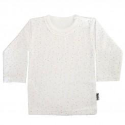 لباس آستین بلند دخترانه تاپلاین مدل برگ ریز سفید Topline