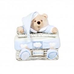 خريد اينترنتي سيسموني نوزاد سبد عروسکی درب دار پسرانه مدل خرس کلوروا Cleverwa نوزادی، نی نی لازم فروشگاه اینترنتی سیسمونی