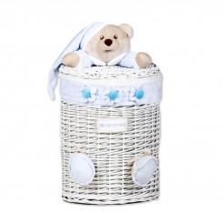خريد اينترنتي سيسموني نوزاد سبد درب دار عروسکی پسرانه مدل خرس آبی کلوروا Cleverwa نوزادی، نی نی لازم فروشگاه اینترنتی سیسمونی