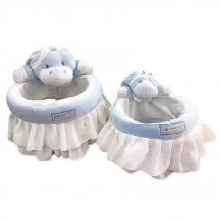 خريد اينترنتي سيسموني نوزاد سبد عروسکی لوازم اتاق کودک طرح پسرانه اسب آبی نوزادی، نی نی لازم فروشگاه اینترنتی سیسمونی