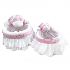 خريد اينترنتي سيسموني نوزاد سبد عروسکی لوازم اتاق کودک طرح دخترانه اسب آبی نوزادی، نی نی لازم فروشگاه اینترنتی سیسمونی