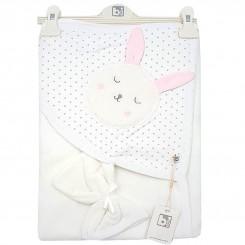 حوله دورپیچ کلاهدار دخترانه برند بی بیبی طرح خرگوش صورتی Bi baby