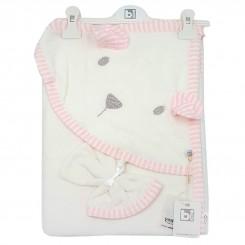 ست حوله کلاهدار و لیف نوزادی برند بی بیبی رنگ سفید Bi baby