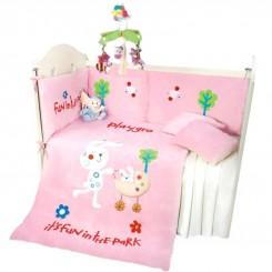 سرویس خواب نوزاد 7 تکه طرح خرگوش صورتی