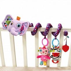 آویز مارپیچ تخت کودک جولی بی بی مدل فیل بنفش Jollybaby
