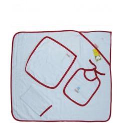 خريد اينترنتي سيسموني نوزاد سرویس حوله چهار تکه (با نوار قرمز) تاپ لاین Top Line - 1 نوزادی، نی نی لازم فروشگاه اینترنتی سیسمونی