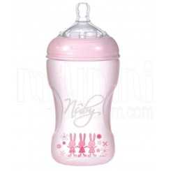 خريد اينترنتي سيسموني نوزاد شیشه شیر طلقی 240 میل صورتی نابی Nuby - 1 نوزادی، نی نی لازم فروشگاه اینترنتی سیسمونی