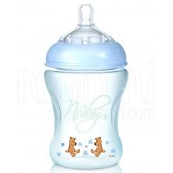 خريد اينترنتي سيسموني نوزاد شیشه شیر طلقی 240 میل آبی نابی Nuby - 1 نوزادی، نی نی لازم فروشگاه اینترنتی سیسمونی