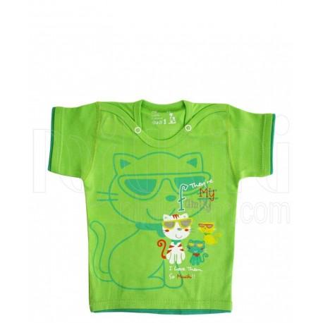 بلوز آستین کوتاه دخترانه و پسرانه گربه سبز دولو Davalloo