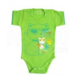 زیردکمه دار آستین کوتاه دخترانه و پسرانه گربه سبز دولو Davalloo