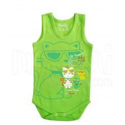 زیردکمه دار رکابی دخترانه و پسرانه گربه سبز دولو Davalloo