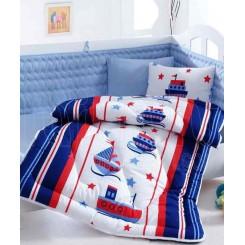 ست لحاف و ملحفه نوزادی کشتی و قایق (طرح ملوان) کاتن باکس Cotton box