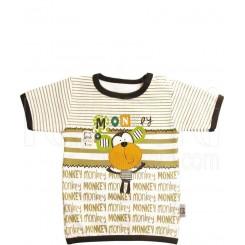 خريد اينترنتي سيسموني نوزاد تی شرت آستین کوتاه پسرانه طرح میمون تاپ لاین Topline نوزادی، نی نی لازم فروشگاه اینترنتی سیسمونی