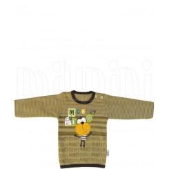 زیرپوش آستین بلند زیتونی پسرانه طرح میمون تاپ لاین Topline
