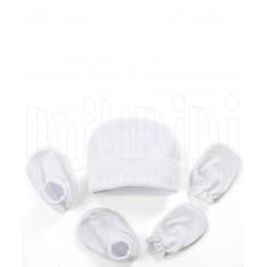 ست کلاه دستکش پاپوش سفید ساده لاکی بی بی Lucky Baby