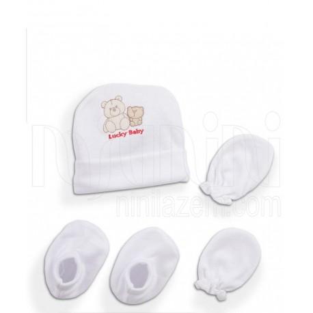 ست کلاه دستکش پاپوش سفید خرسی لاکی بی بی Lucky Baby