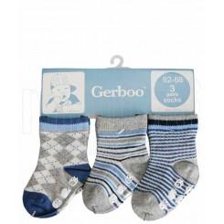 جوراب نوزادی سه جفتی استپ دار توسی آبی گربو Gerboo