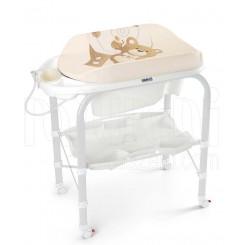 خريد اينترنتي سيسموني نوزاد وان پایه دار حمام بچه همراه با تشک تعویض طرح خرس برند کم Cam نوزادی، نی نی لازم فروشگاه اینترنتی سیسمونی