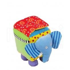 عروسک نخکش موزیکال نوزاد فیل مکعبی آبی بی بی میکس Baby Mix