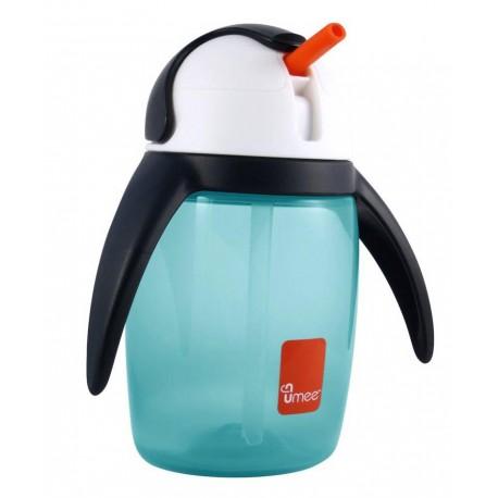 لیوان آبمیوه خوری نی دار 360 میل رنگ آبی طرح پنگوئن یومه Umee