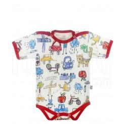 خريد اينترنتي سيسموني نوزاد لباس زیردکمه دار آستین کوتاه مداد رنگی قرمز لیدولند نوزادی، نی نی لازم فروشگاه اینترنتی سیسمونی