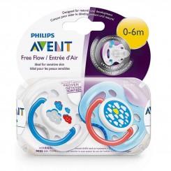 پستانک دوتایی 0 - 6 ماه طرح ابر دو رنگ فیلیپس اونت Philips Avent