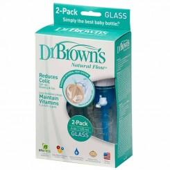 شیشه شیر پیرکس باریک دکتر براون 120میل پک 2 عددی Dr Browns