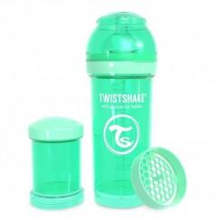 شیشه شیر ضدنفخ نوزادی تویست شیک 260 میل پاستل سبز Twistshake