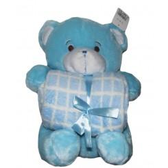 خريد اينترنتي سيسموني نوزاد پتو عروسکدارچهارخونه خرسی آبی Happy Health نوزادی، نی نی لازم فروشگاه اینترنتی سیسمونی