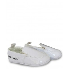 خريد اينترنتي سيسموني نوزاد کفش پسرانه سفید ورنی مکس Mexx نوزادی، نی نی لازم فروشگاه اینترنتی سیسمونی