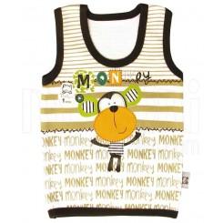 خريد اينترنتي سيسموني نوزاد تی شرت آستین رکابی پسرانه طرح میمون تاپ لاین Topline نوزادی، نی نی لازم فروشگاه اینترنتی سیسمونی