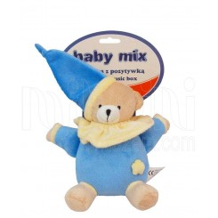 خريد اينترنتي سيسموني نوزاد عروسک نخکش موزیکال خرس آبی پوش بی بی میکس Baby Mix نوزادی، نی نی لازم فروشگاه اینترنتی سیسمونی