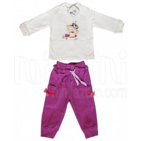 خرید بلوز آستین بلند و شلوار نوزادی دخترانه بنفش مادرایران Mother Iran نوزادی، نی نی لازم فروشگاه اینترنتی سیسمونی